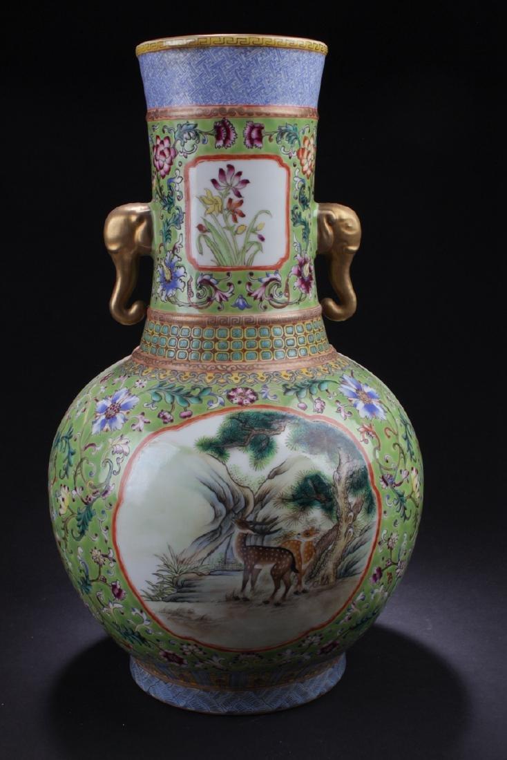 A Duo-handled Chinese Windowed Estate Porcelain Vase