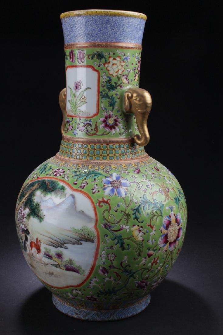 A Duo-handled Chinese Windowed Estate Porcelain Vase - 2