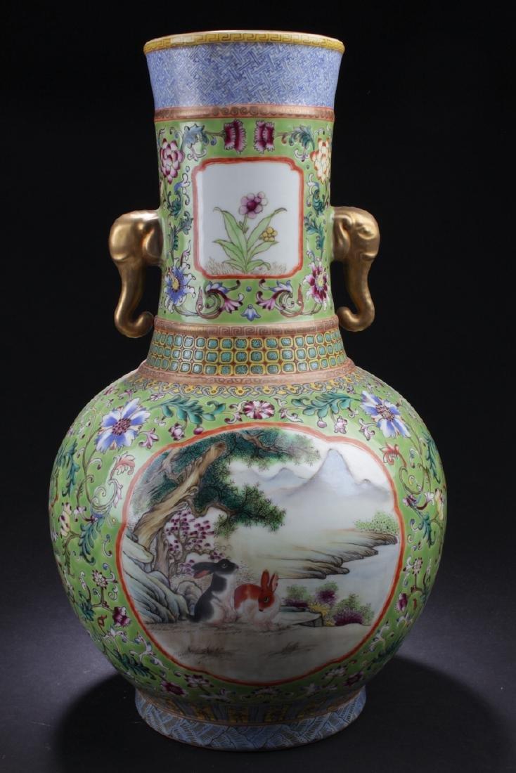A Duo-handled Chinese Windowed Estate Porcelain Vase - 3