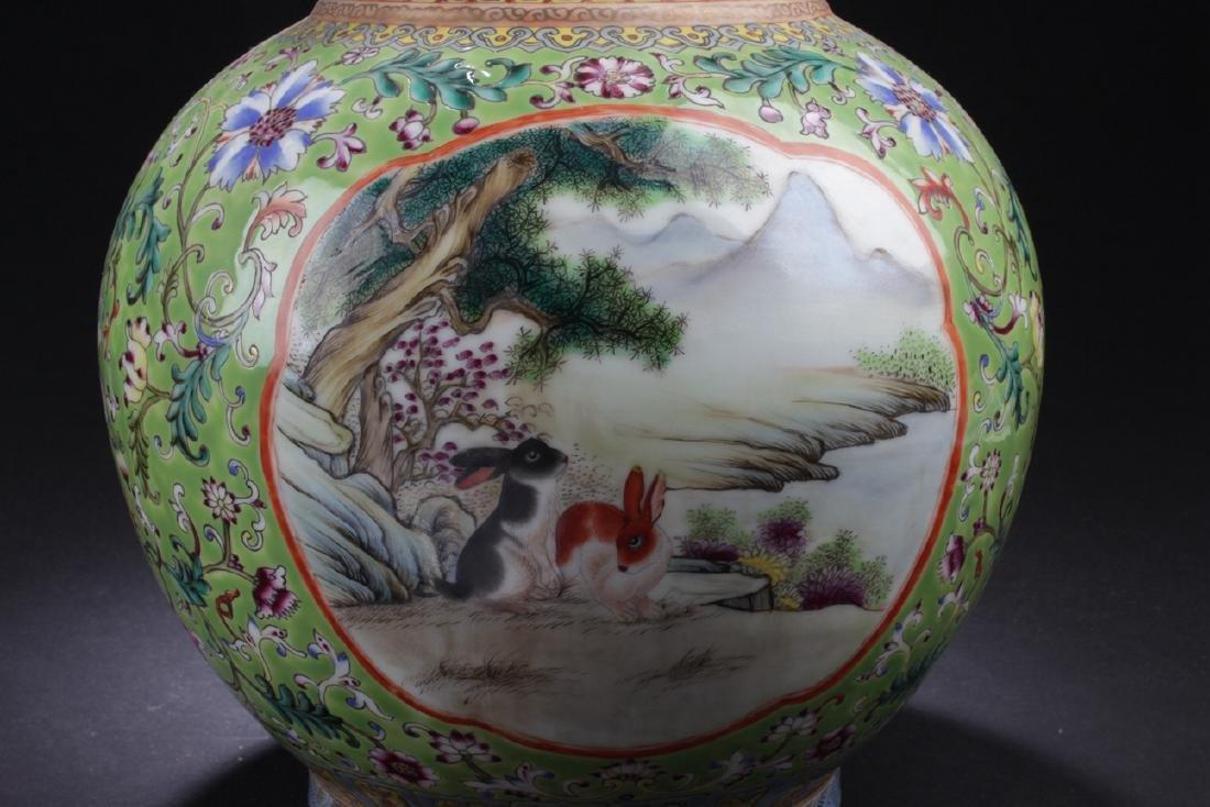 A Duo-handled Chinese Windowed Estate Porcelain Vase - 6