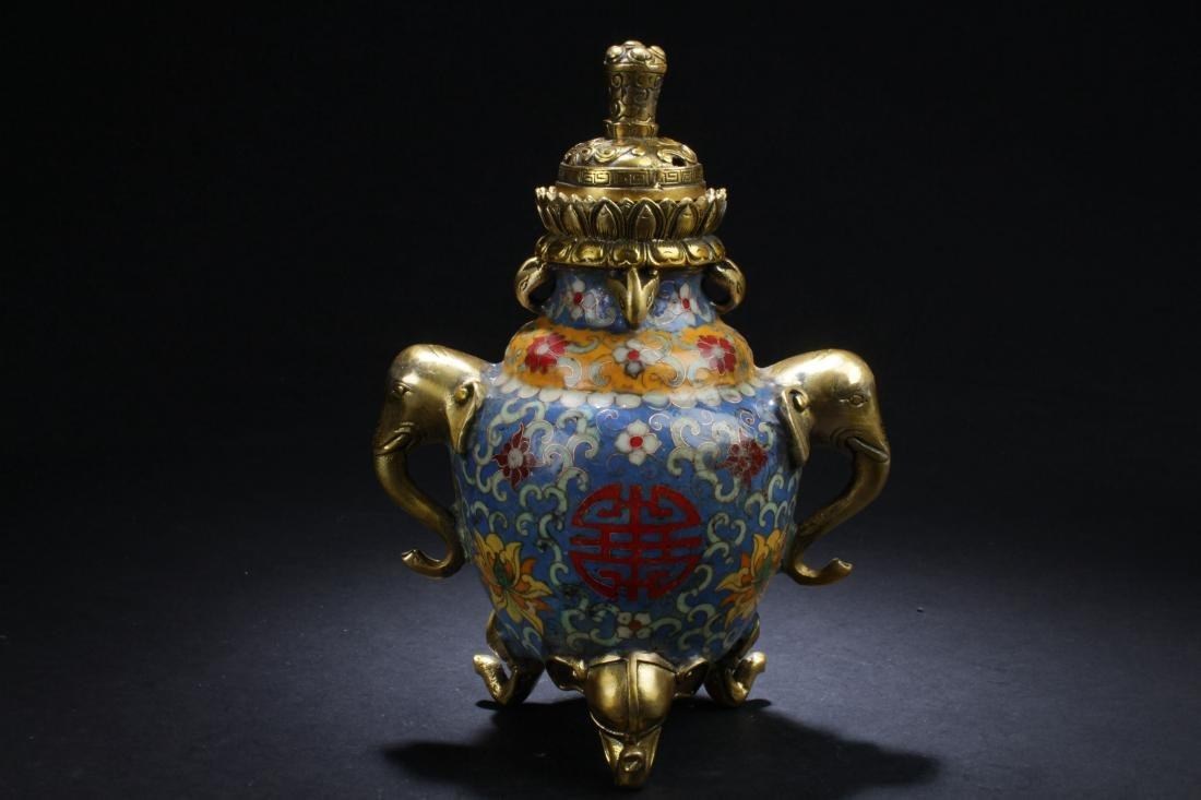 A Tri-podded Chinese Estate Cloisonne Lidded Censer