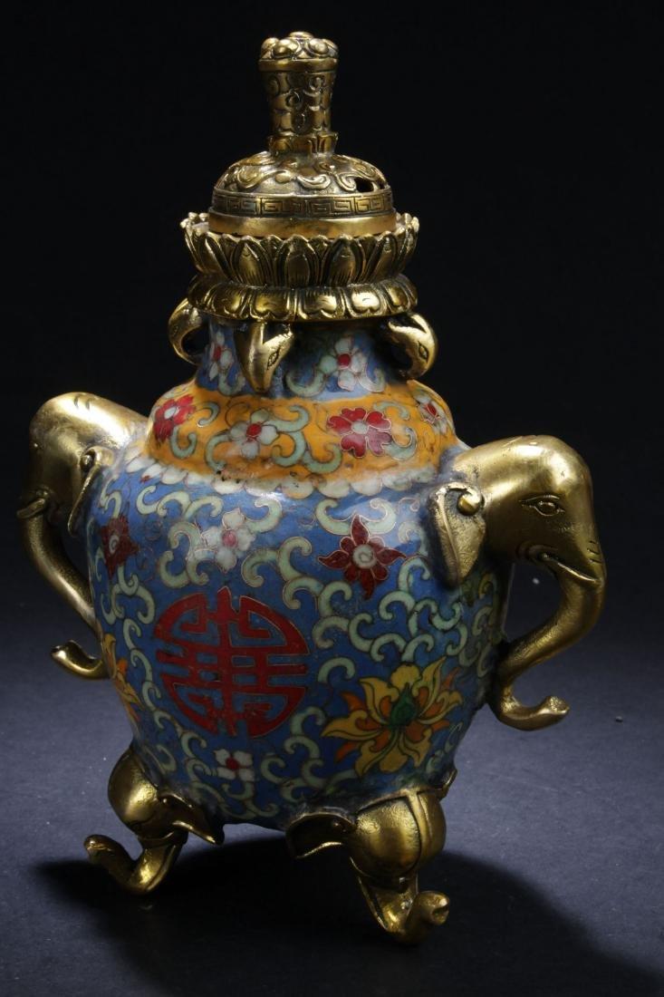 A Tri-podded Chinese Estate Cloisonne Lidded Censer - 5