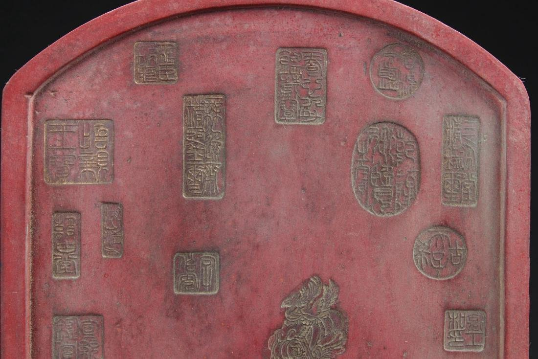 An Estate Chinese Red Poetry-framing Inkstone Display - 7