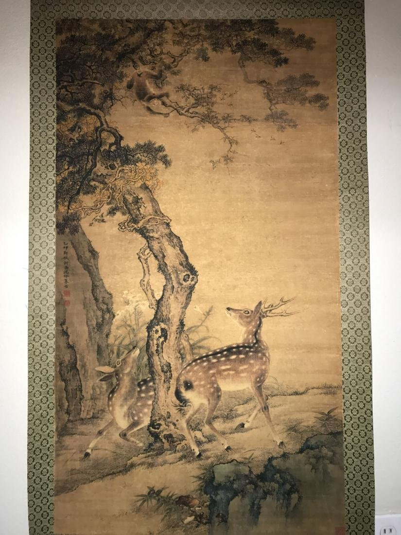 A Chinese Deer-fortune Natural-sceen Estate Scroll