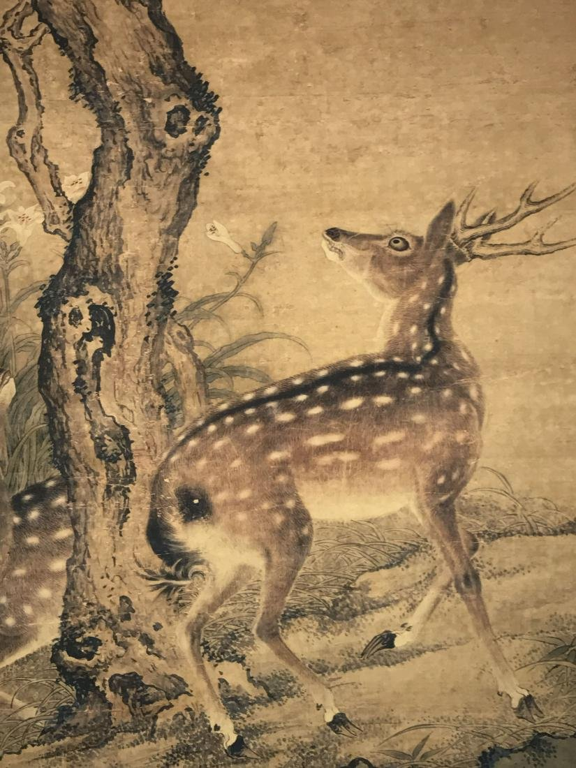 A Chinese Deer-fortune Natural-sceen Estate Scroll - 2