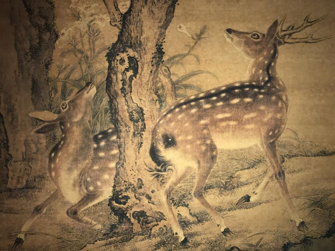 A Chinese Deer-fortune Natural-sceen Estate Scroll - 4