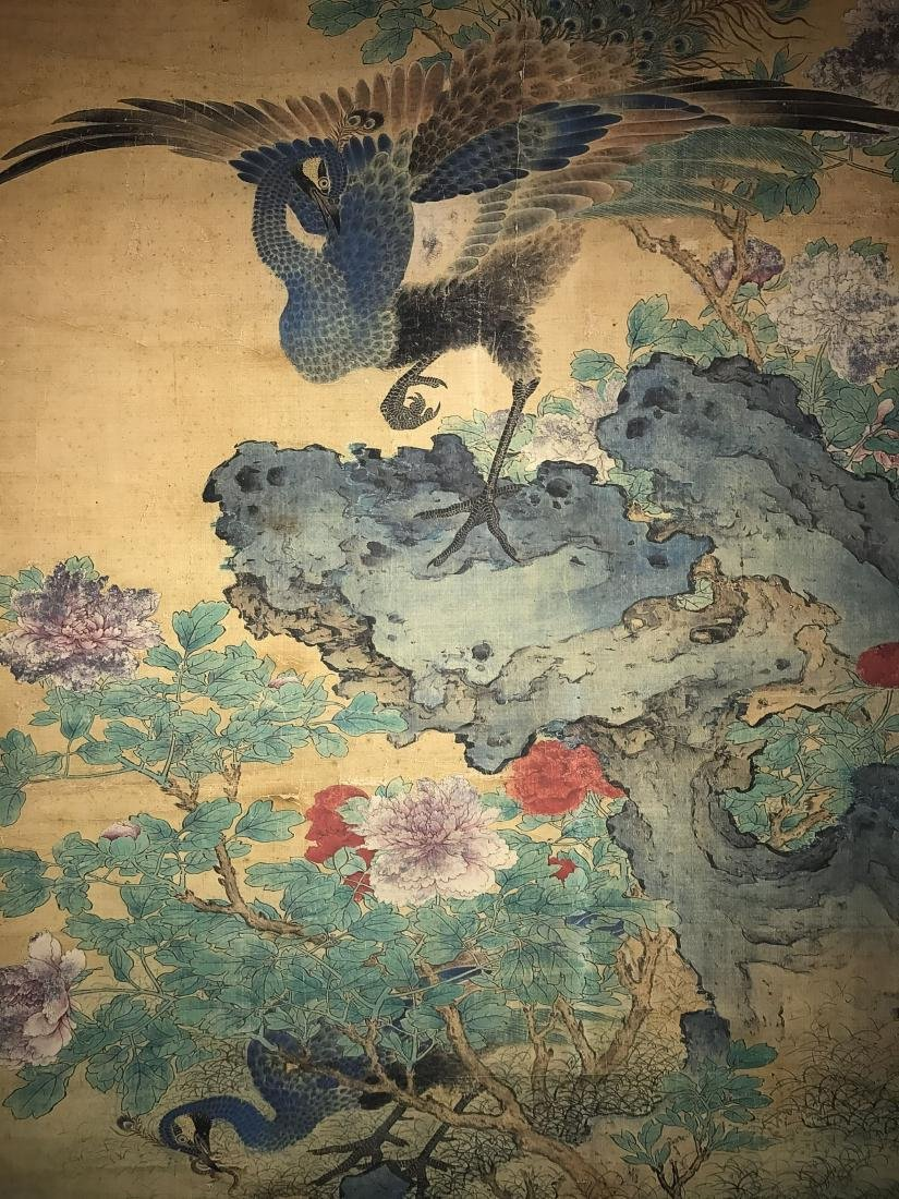A Chinese Peacock-portrait Fortune Display Scroll - 3