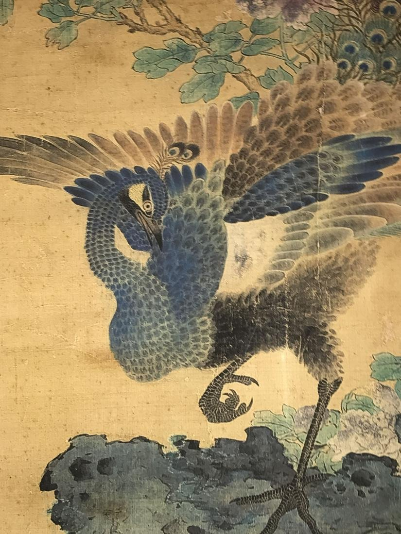 A Chinese Peacock-portrait Fortune Display Scroll - 4
