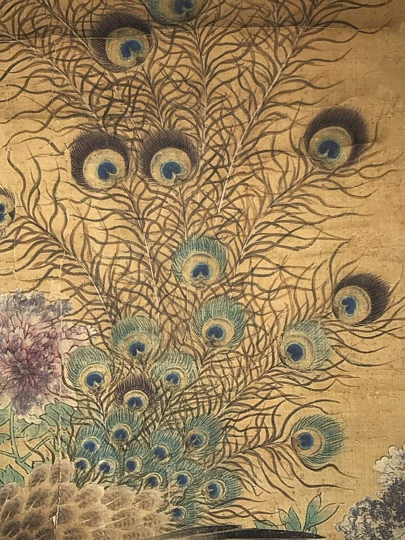 A Chinese Peacock-portrait Fortune Display Scroll - 5