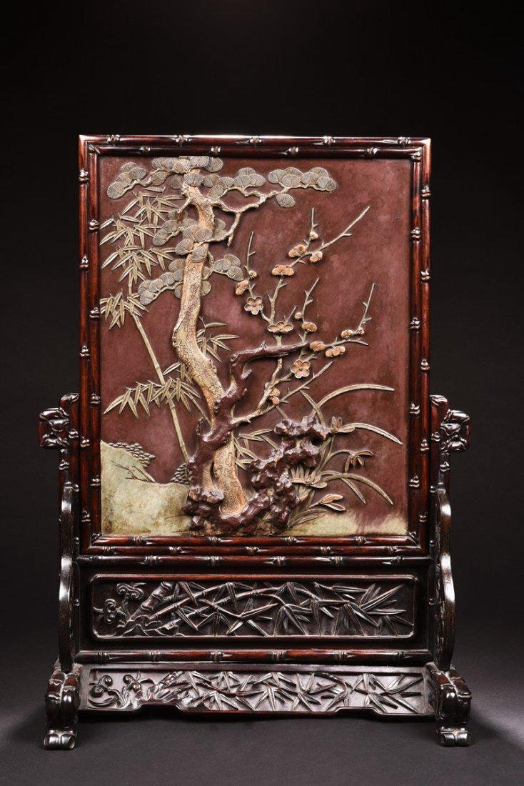 Antique Chinese 'Shuangzhi' wood Table Screen with Duan