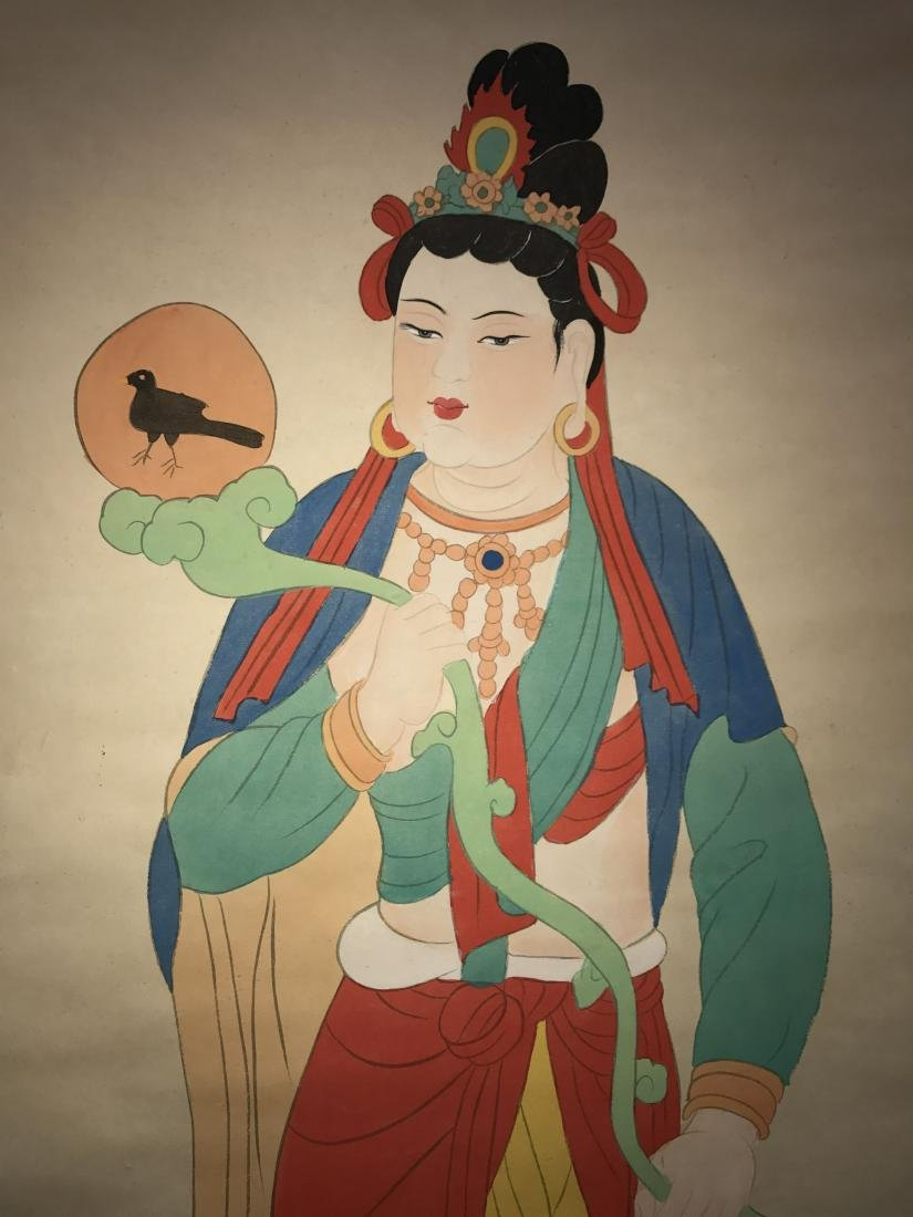 An Estate Chinese Godness-portrait Fortune Scroll
