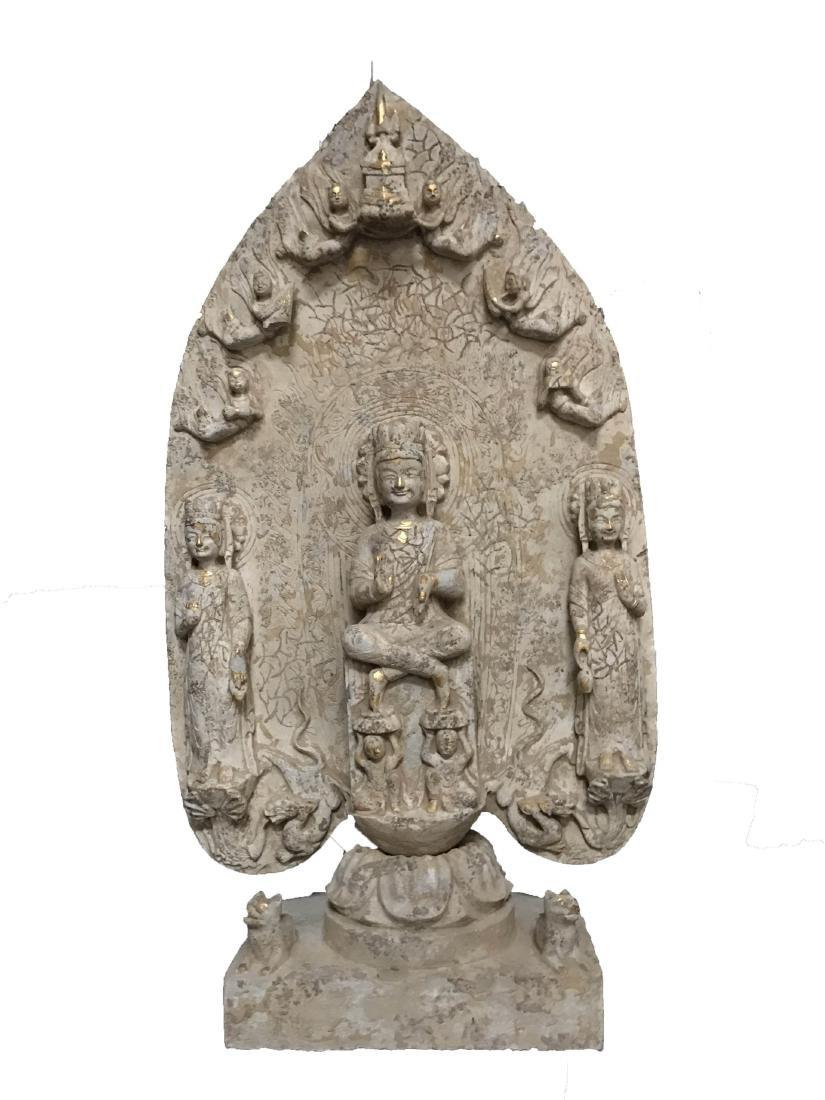 Large Chinese Stone Buddha Statue