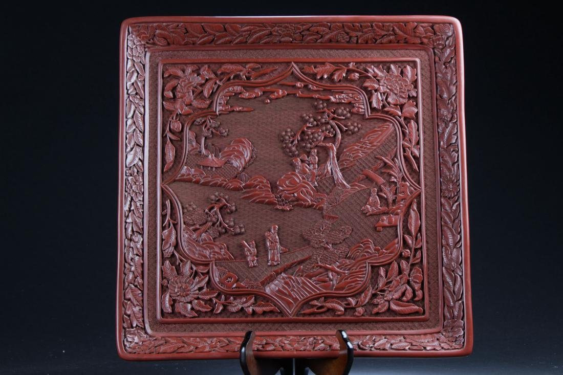 A Chinese Square Story-telling Estate  Lacquer Display