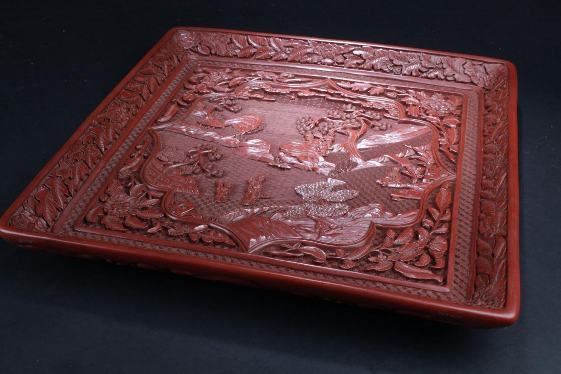 A Chinese Square Story-telling Estate  Lacquer Display - 8