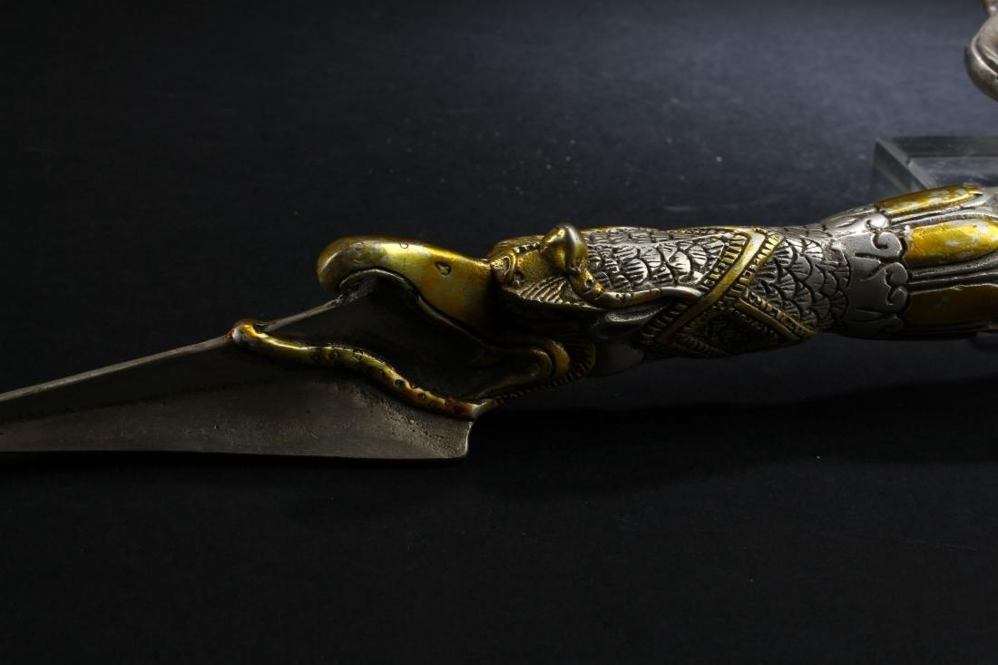 An Estate Tibetan Fortune Dagger Display - 3