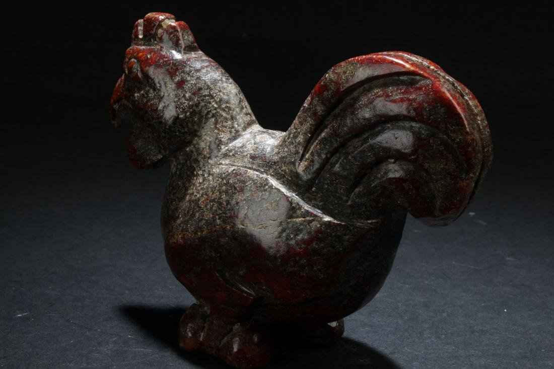 An Estate Chinese Rooster-fortune Stone Curving Display - 3