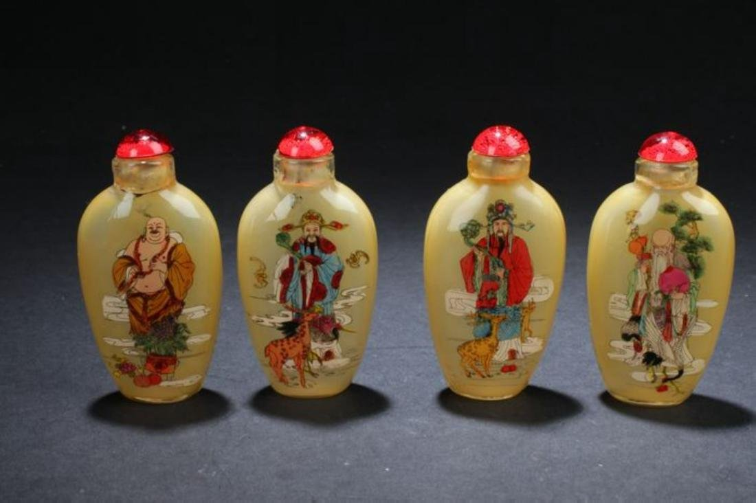 Four Chinese Estate Fortune Snuff BottleChinese