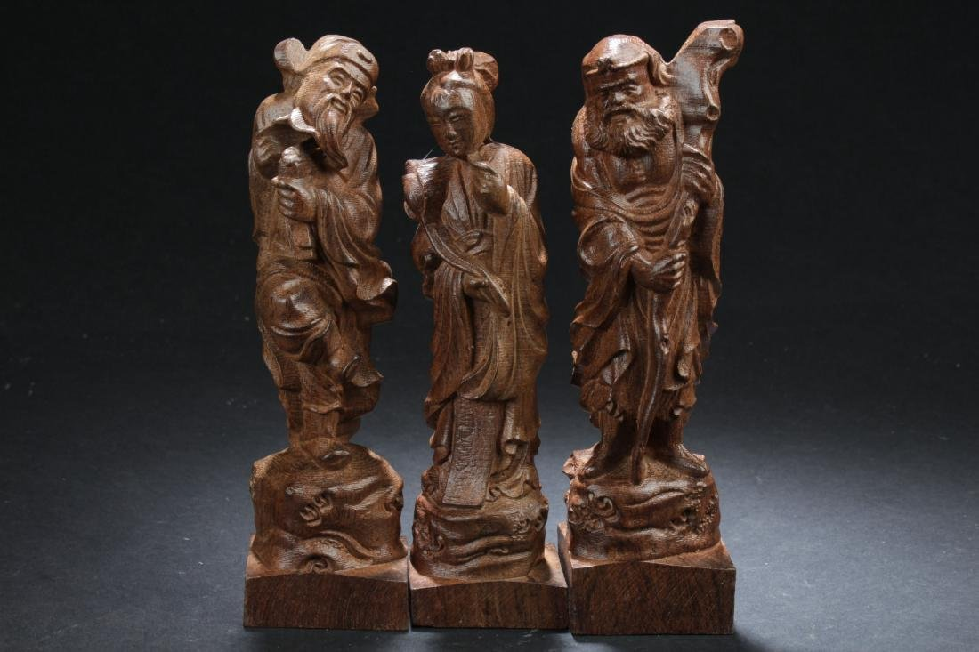 Three Chinese Estate Wooden Curving Display Statues