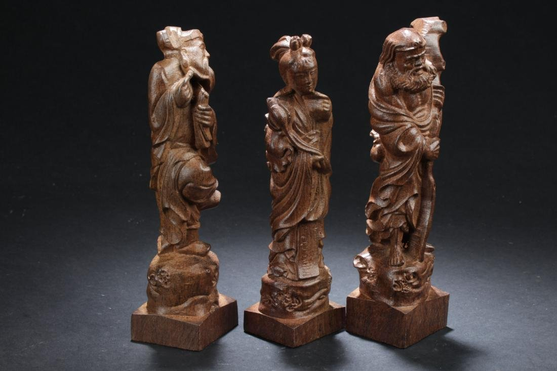 Three Chinese Estate Wooden Curving Display Statues - 2
