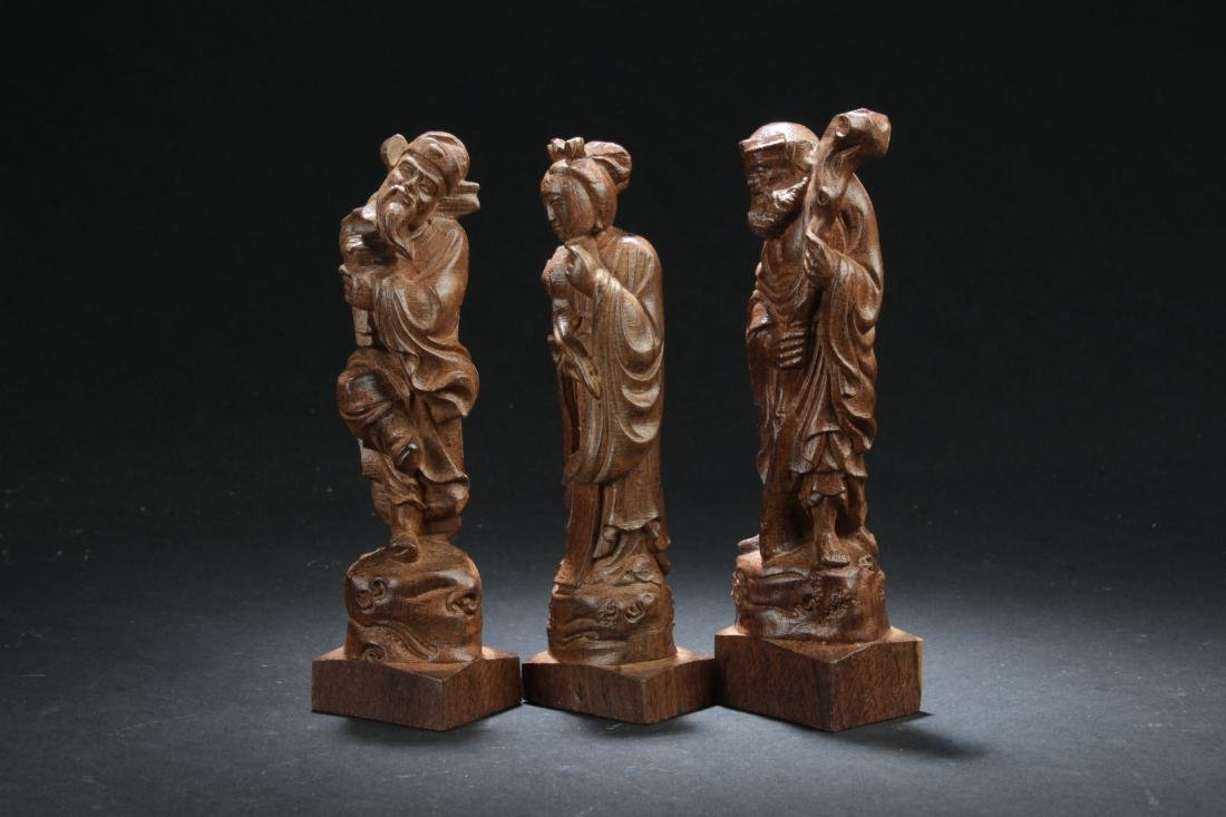 Three Chinese Estate Wooden Curving Display Statues - 3