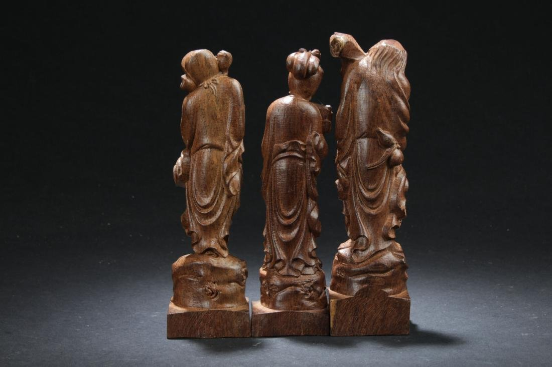 Three Chinese Estate Wooden Curving Display Statues - 4