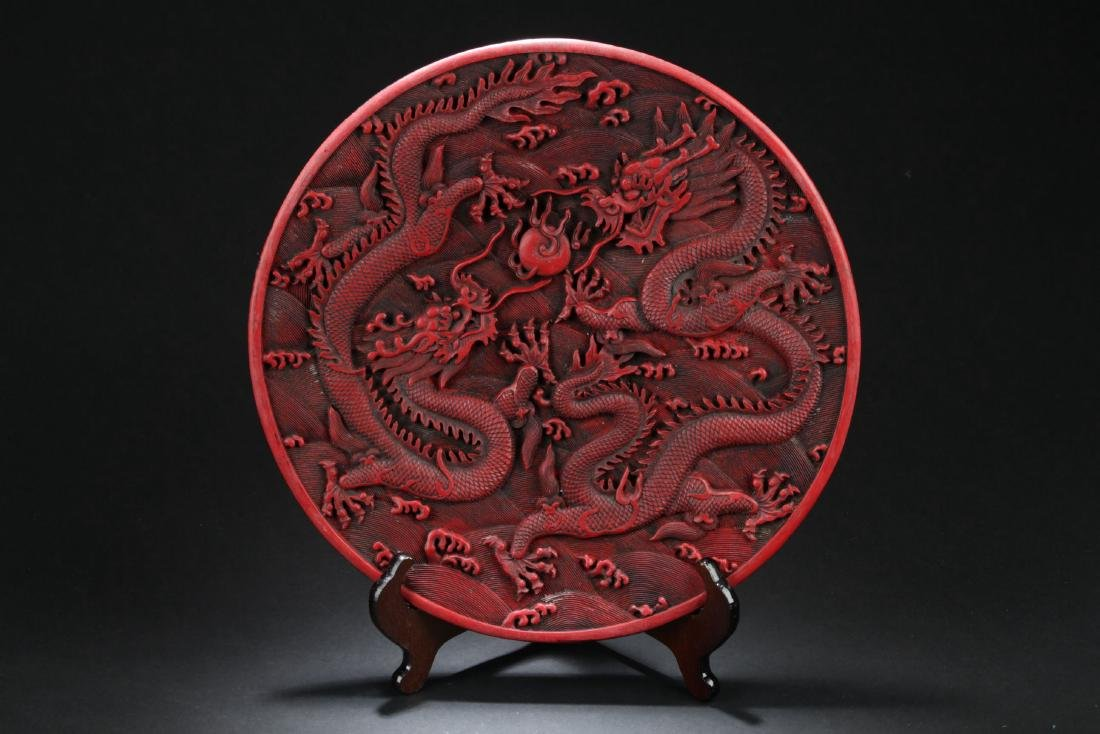A Chinese Dragon-decorating Lacquer Plate