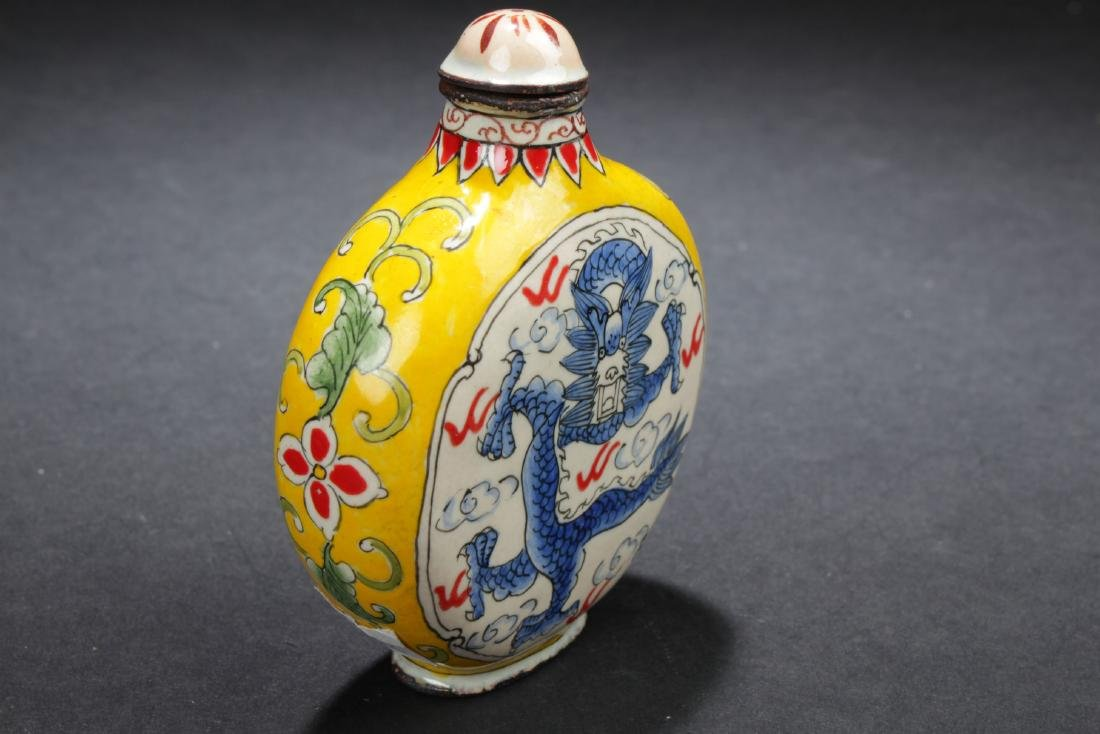 A Dragon-decorating Chinese Copper-made Snuff Bottle - 2