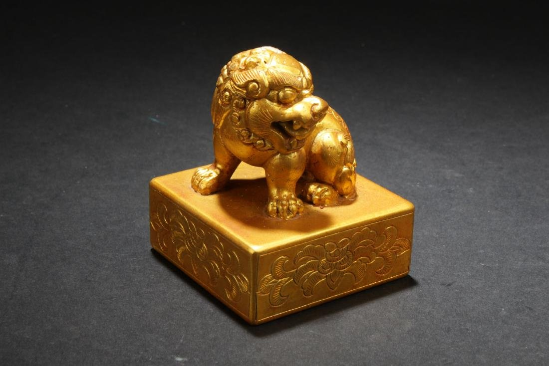 An Estate Chinese Myth-beast Gilt Seal Display