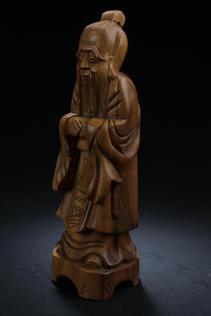 An Estate Chinese Wooden-curving Statue - 2