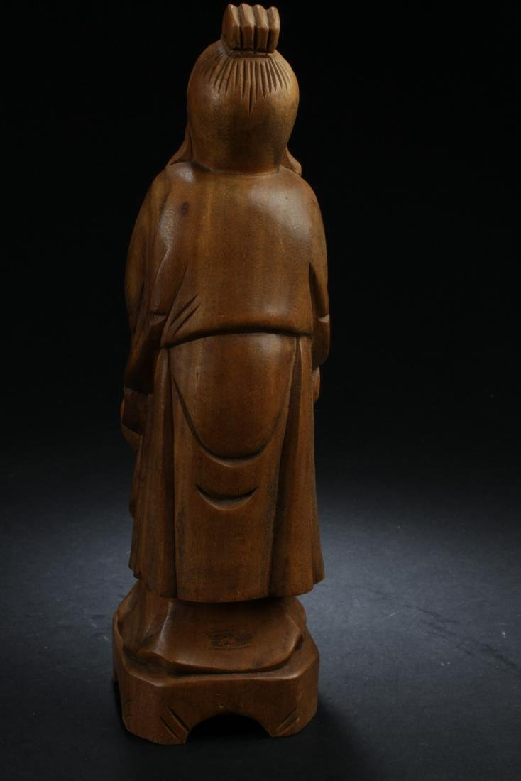 An Estate Chinese Wooden-curving Statue - 3