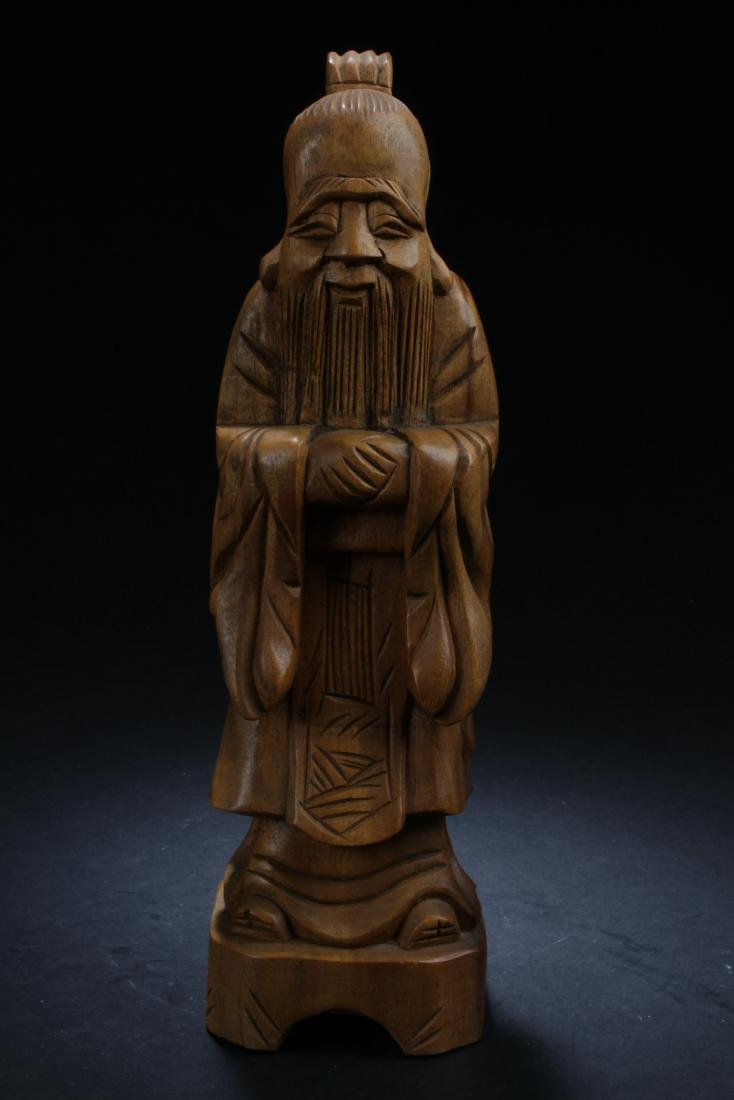 An Estate Chinese Wooden-curving Statue - 5