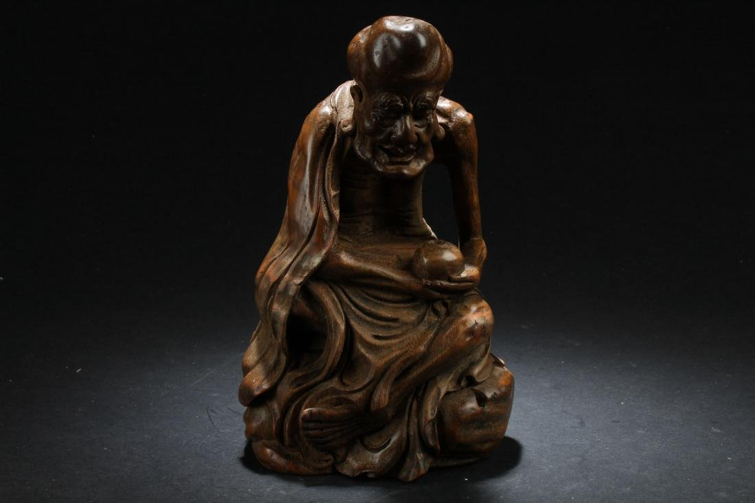 A Lohan-pondering Chinese Estate Bamboo-fortune Statue