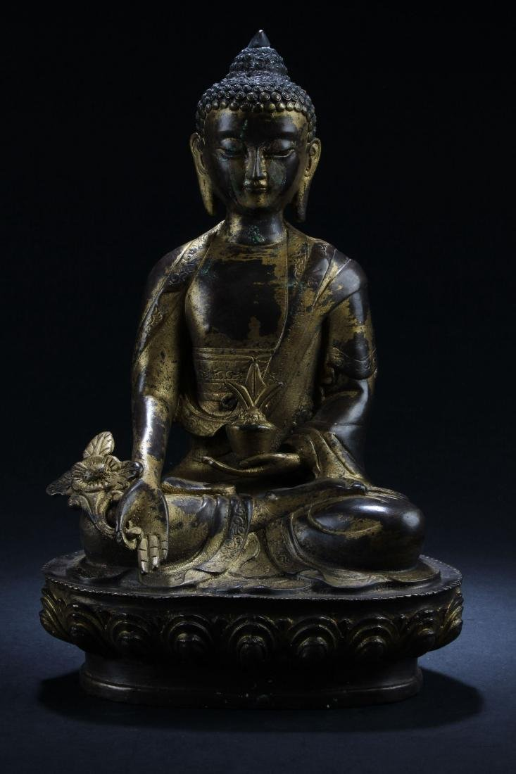 A Chinese Seated Fortune Peaceful Buddha Statue