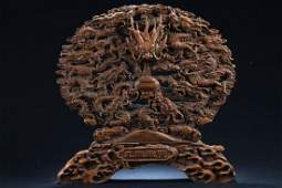 A Chinese Massive Wooden Dragon-decorating Fortune
