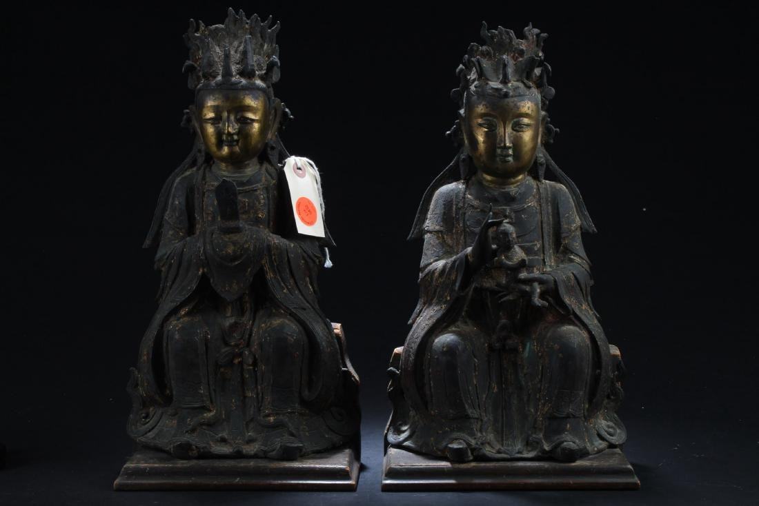 A Pair of Antique Chinese Daoist Sculptures, Qing