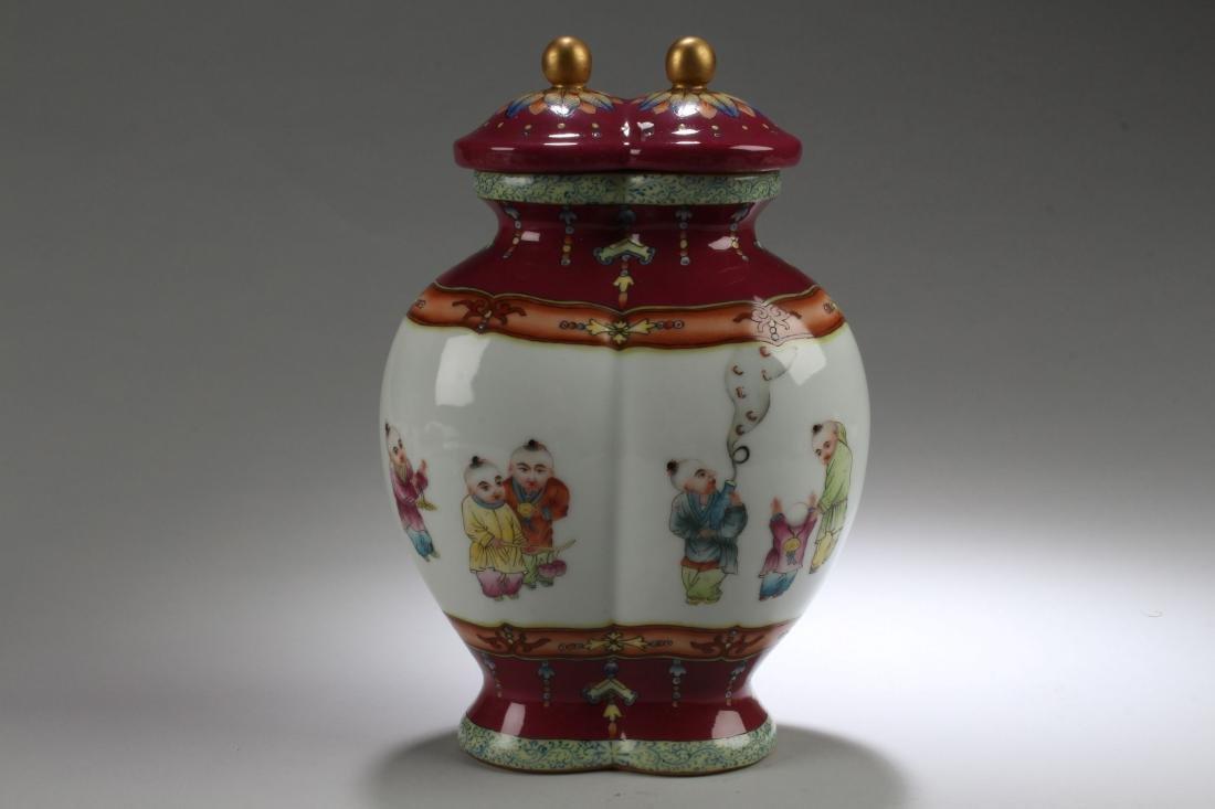 A Duo-opening Chinese Joyful-kid Lidded Porcelain Jar