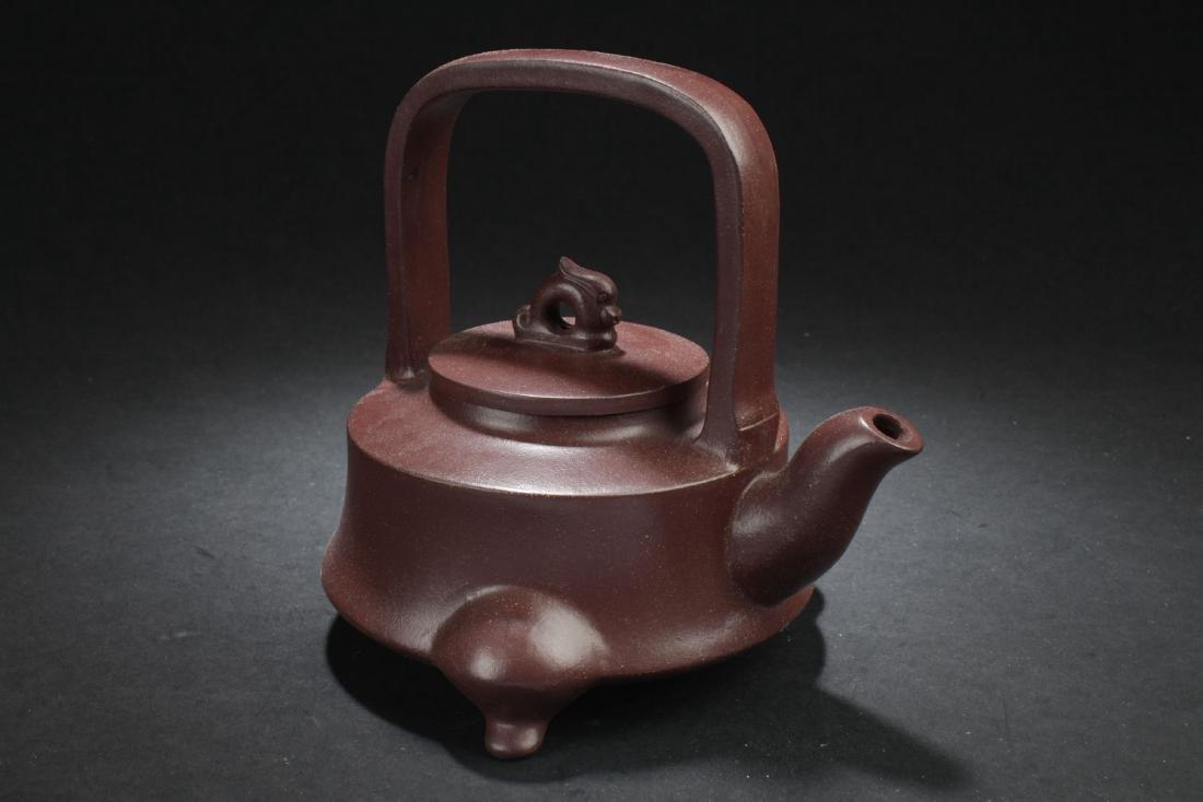 A Tri-podded Chinese Myth-beast Estate Tea Pot - 2