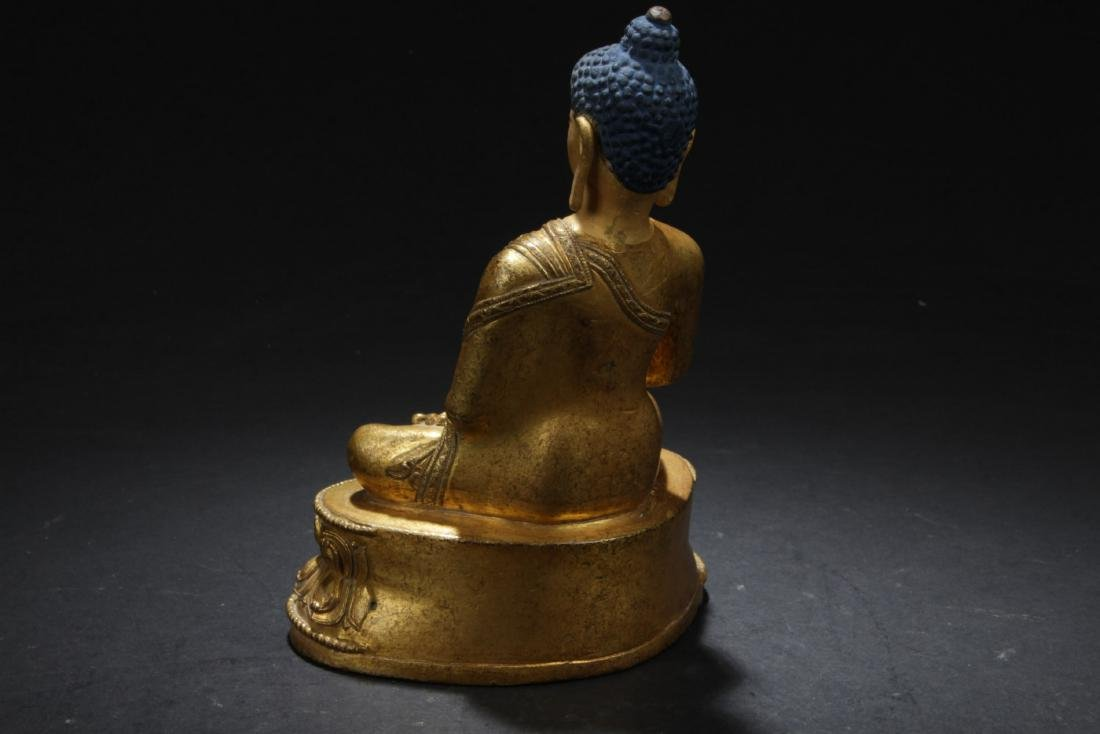 Antique Chinese Gilt Bronze Buddha Statue - 3