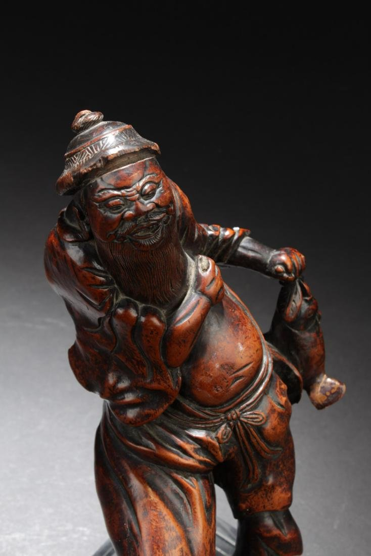 Chinese Antique Qi Wood Carved Figure on Stand - 2