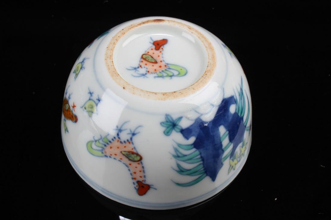 A Chinese Rooster-fortune Estate Porcelain Cup Display - 5