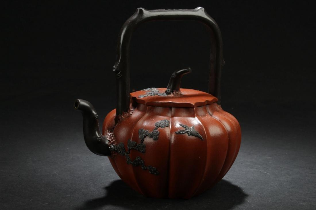 A High-handled Chinese Nature-sceen Estate Tea Pot