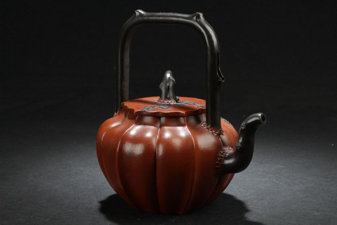 A High-handled Chinese Nature-sceen Estate Tea Pot - 2