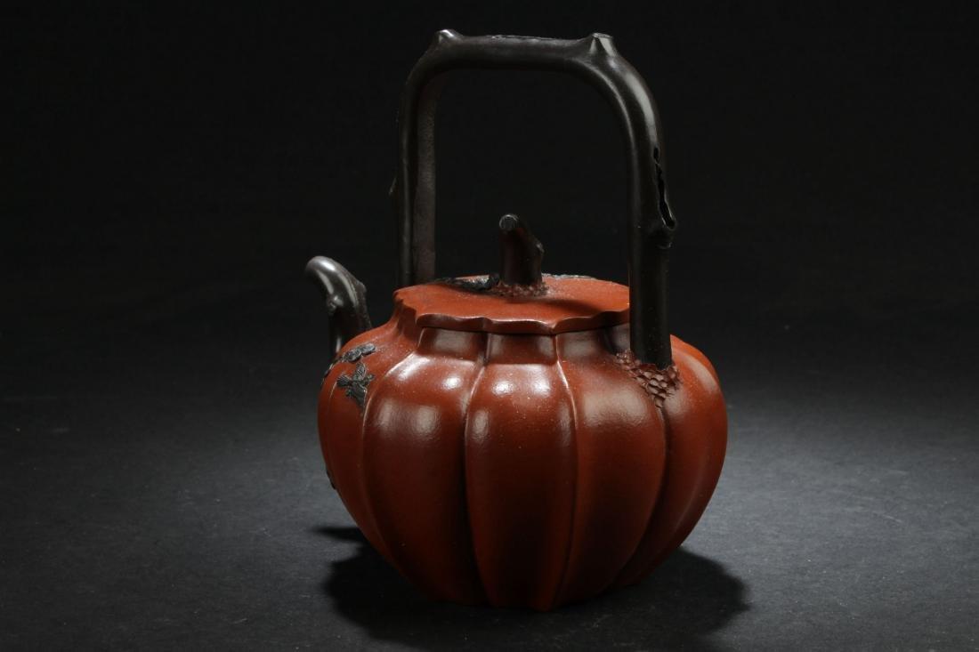 A High-handled Chinese Nature-sceen Estate Tea Pot - 4