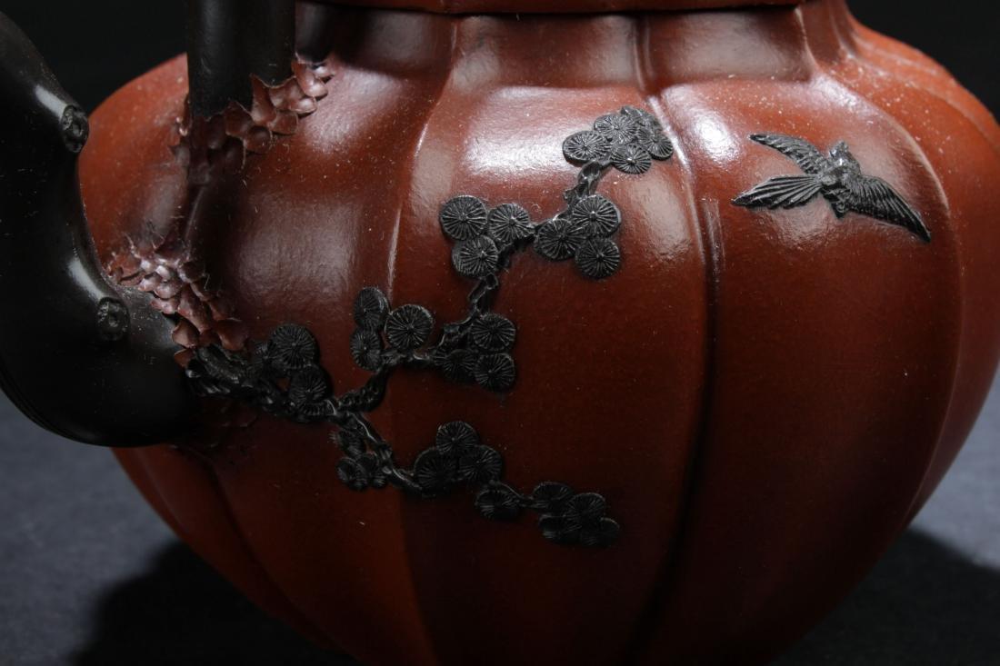 A High-handled Chinese Nature-sceen Estate Tea Pot - 5
