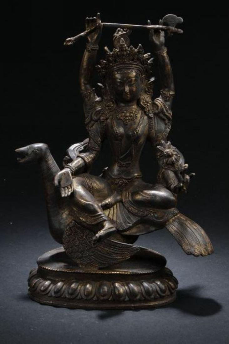 A Myth-beast Seated Chinese Estate Religious Statue