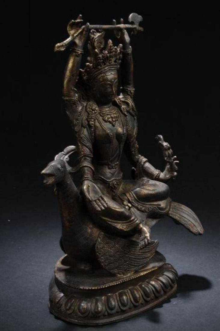 A Myth-beast Seated Chinese Estate Religious Statue - 3