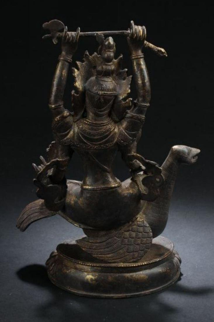 A Myth-beast Seated Chinese Estate Religious Statue - 7
