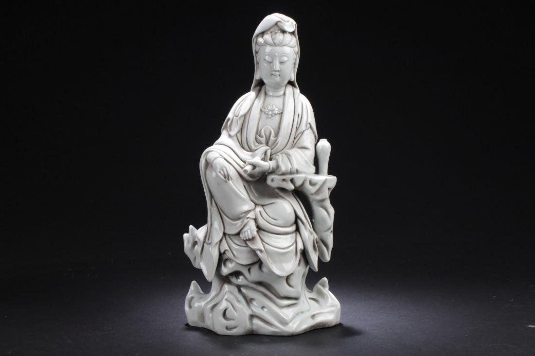 An Estate Chinese Seated Guanyin Porcelain Statue