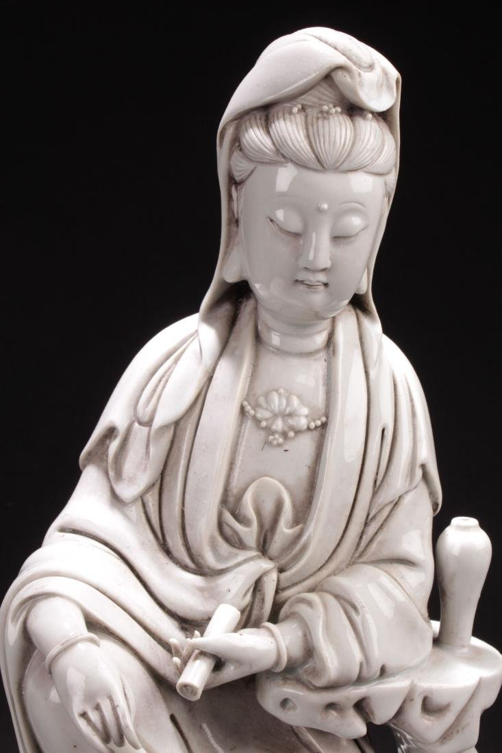 An Estate Chinese Seated Guanyin Porcelain Statue - 4