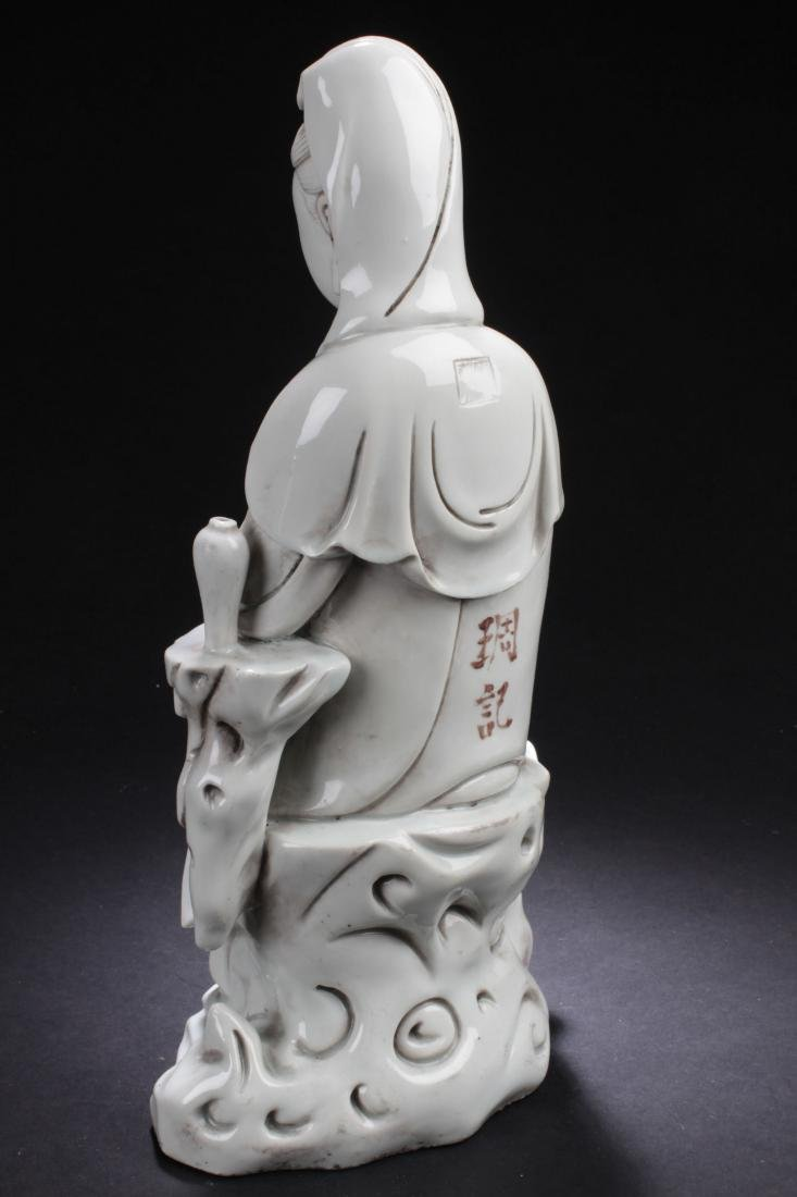 An Estate Chinese Seated Guanyin Porcelain Statue - 6